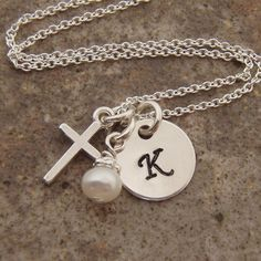 Initial charm and silver cross necklace  Hand by filigreepheasant, $28.00