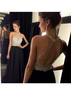Long prom dress black prom dress, open back prom with Halter Neckline pst0680