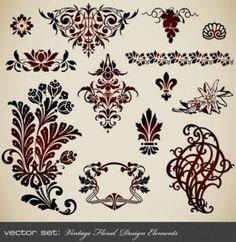 Decorative floral scrolls design elements