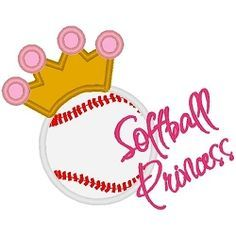 Softball Princess Applique - 3 Sizes!   Words and Phrases   Machine Embroidery Designs   SWAKembroidery.com Band to Bow