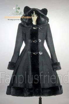 Cutie Gothic, Sweet Lolita: Bear Ears Hood Wool Coat. My daughter is in luv with this.