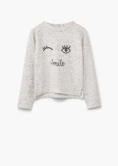 Flecked printed sweatshirt | MANGO KIDS Kids Outfits Girls, Trendy Outfits, Girl Outfits, Fashion Kids, Sweat Shirt, Kid United, Inspiration Mode, One Piece, Kind Mode