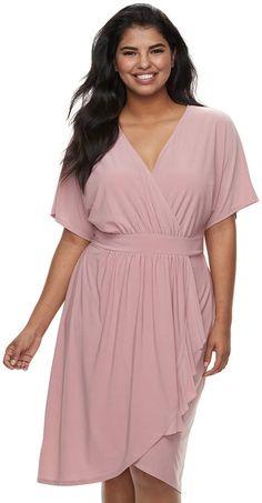 24eff299cf6 Wrapper Juniors  Plus Size Kimono Faux-Wrap Dress