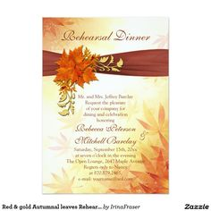Red & gold Autumnal leaves Rehearsal Dinner Invite