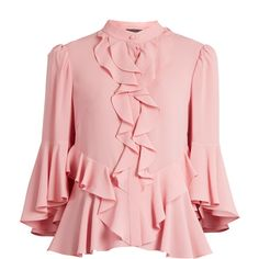 Alexander McQueen Ruffled-front silk-georgette blouse (2.580 BRL) ❤ liked on Polyvore featuring tops, blouses, pink, flutter blouse, layered tops, pink top, ruffle front blouse and flounce top