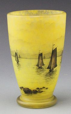 Daum Nancy Cameo glass Vase Nautical Scene, French Circa 1895-1920 Measures 5 3/4 Inches in Height