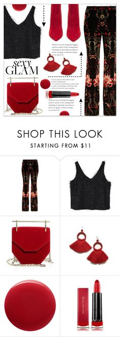 """""""night out🌹"""" by saramoradi210 ❤ liked on Polyvore featuring Roberto Cavalli, MANGO, M2Malletier, Oribe, Max Factor, Steve Madden, black, red, fringe and girlsnight"""