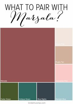 Pantone 2015 color of the year, Marsala, is versatile shade that pairs well with many colors. Pantone 2015, Marsala Pantone, Pantone Colors 2015, Azul Pantone, Colour Schemes, Color Trends, Color Combos, Color Of The Year, Wedding Trends