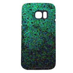 Pixel Glitch Green Samsung Galaxy S7 Case on CafePress.com
