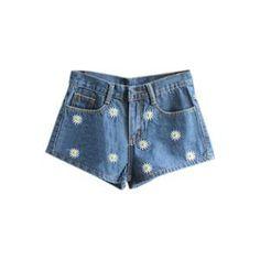 Retro Daisy Embroideried Dark-colored Shorts   pariscoming