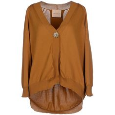 Erika Cavallini Semicouture Cardigan ($140) ❤ liked on Polyvore featuring tops, cardigans, camel, lightweight cardigan, lightweight cotton cardigan, camel cardigan, v-neck tops and long sleeve v neck cardigan