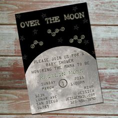 Over The Moon Baby Shower Invitation. Space Themed Baby Shower Invitation.