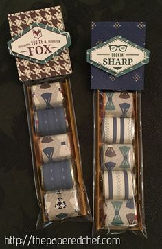 bowties, designer series paper, Hershey Nuggets, Lookin' Sharp, masculine crafts, nugget treats, nugget wrappers, Occasions 2018, Stampin' Up, Tailored Tag punch, True Gentleman, Truly Tailored, You're a Fox…