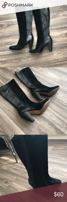 Antonio Melani black and leather boots Lightly worn super cute leather and suede black boots. Thicker heel and surprisingly comfortable ANTONIO MELANI Shoes Heeled Boots