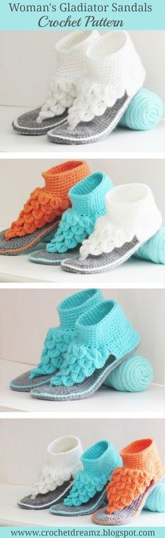 Try this crochet pattern to make a gorgeous pair of Crocodile Stitch Gladiator Sandals, a woman's slipper pattern like never before. This pattern is aptly named the Boho Dreamz Sandals. Crochet Slipper Boots, Crochet Sandals, Crochet Slippers, Tongs Crochet, Crochet Crafts, Crochet Projects, Crochet Baby, Free Crochet, Crochet Flip Flops