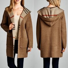 Tan Plaid Hooded Coat Size Medium/Large Arriving Friday!!  Beautiful!!  Tan coat with plaid accents, hooded, 100% Polyester.  Size Medium/Large.  No Trades, Price Firm unless bundled.  BUNDLE 3 OR MORE ITEMS FOR 15% OFF. Boutique Jackets & Coats