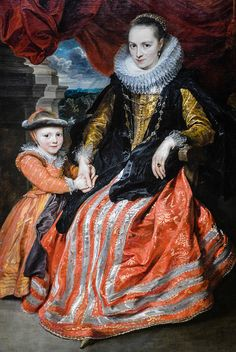 Portrait of Susanna Fourment and Her Daughter, 1621 by Sir Anthony van Dyck (Flemish, National Art Gallery Washington DC Anthony Van Dyck, Sir Anthony, National Art, National Gallery Of Art, Art Gallery, Baroque Painting, Baroque Art, Historical Costume, Historical Clothing