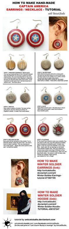 Captain America Earrings - tutorial by UnicatStudio // LINK: http://unicatstudio.deviantart.com/art/Captain-America-Earrings-tutorial-471664555 // WINTER SOLDIER EARRINGS TUTO: http://unicatstudio.deviantart.com/art/Winter-Soldier-Earrings-tutorial-471667195 // WINTER SOLDIER HOODIE TUTO: http://unicatstudio.deviantart.com/art/Winter-Soldier-Hoodie-TUTORIAL-458107247