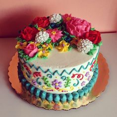 Flower Power Fiesta Cake by 2tarts Bakery / New Braunfels, Texas / www.2tarts.com