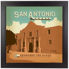 "East Urban Home San Antonio Framed Vintage Advertisement Size: 15"" H x 15"" W x 1"" D"