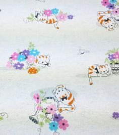 Snuggle Flannel Fabric Cat Spring Sketch