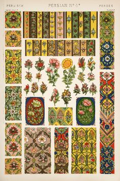 "Original Antique 1868 ""Grammar of Ornament"" by Owen Jones, Chromolithograph Prints For Sale Pattern Books, Pattern Art, Pattern Design, Graphic Design Books, Book Design, Textures Patterns, Print Patterns, Owen Jones, Persian Pattern"