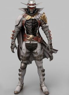 His precision and accuracy are next to none. His range is paralleled by few, however he never uses scopes and always uses rifles or six-shooters. Game Character Design, Fantasy Character Design, Character Design Inspiration, Character Concept, Character Art, Robot Concept Art, Armor Concept, Dnd Characters, Fantasy Characters