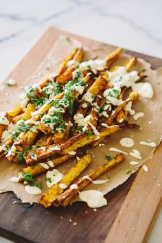 Paprika Parsnip Fries w/ a preserved lemon cashew cream sauce (vegan GF). I Love Food, Good Food, Yummy Food, Tasty, Vegetarian Recipes, Cooking Recipes, Healthy Recipes, Vegan Vegetarian, Vegetarian