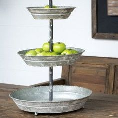This three tiered stand embodies farmhouse and galvanized swag! Perfect for parties on the buffet table to hold soda, cups, napkins, and silverware. On your coffee bar to display mugs, k-cups, sugar,