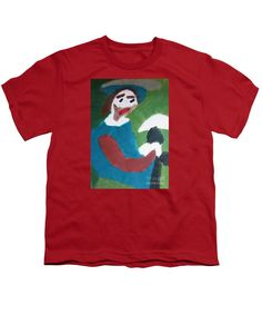 Patrick Francis Red Designer Youth T-Shirt featuring the painting Man With A Feathered Hat 2014 by Patrick Francis
