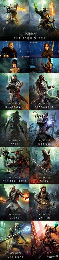 Dragon Age Inquisition character promo posters
