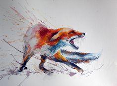 """Saatchi Art Artiste Kovacs Anna Brigitta; Peinture, """"renard roux effrayé"""""""