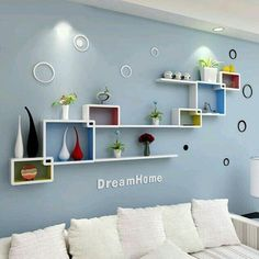 55 Wall Shelves Design Ideas - Show Off Your Precious Possessions With Floating Wall Shelves - Interior Design Ideas - Girls Room Wall Decor, Wall Shelf Decor, Wall Shelves Design, Living Room Decor, Bedroom Wall Shelves, Living Rooms, Wall Shelving, Living Room Shelves, Tv Wanddekor