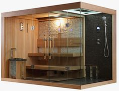Steam sauna shower combination hammam New product for house designs Sauna Shower, Bathroom Shower Panels, Steam Showers Bathroom, Bathroom Spa, Shower Tub, Modern Bathroom, Home Spa Room, Spa Rooms, Saunas