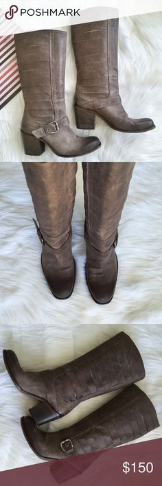 """CO-OP Barneys New York Cut Out Boot Pre-loved, No box, Women's knee-high pull on boots, with cut-out design shaft and belt and buckle detail on the side, rugged and distressed look, Leather upper, lining and insole, approx 12"""" shaft height, 14"""" circumference, stacked heel with 3"""" height, Brown Color. Made in Italy. Please feel free to ask questions. No trades. Barneys New York CO-OP Shoes Heeled Boots"""
