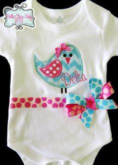 Sparkle Chevron Birdie bodysuit onesie for baby girls toddler- Custom Order for baby girls aqua light pink hot pink. $34.00, via Etsy.
