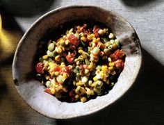 Succotash of Fresh Corn, Lima Beans, Tomatoes and Onions - Insanely delicious, vegan, and great way to make use of the end-of-summer corn abundance