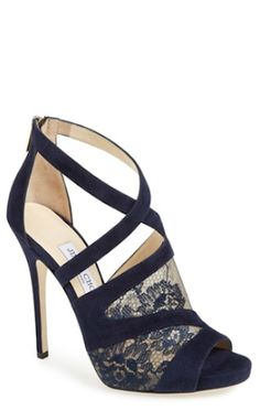 My hot fall find: Jimmy Choo 'Vantage' Suede & Lace Sandal. Dream Shoes, Crazy Shoes, Me Too Shoes, Pretty Shoes, Beautiful Shoes, Evening Shoes, Evening Sandals, Jimmy Choo Shoes, Christian Louboutin