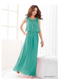 Fashionable and Elegant Style Scoop Neck Sleeveless Solid Color Bohemian Chiffon Maxi Dress Dress Vest, Dress Outfits, Casual Dresses, Fashion Dresses, Summer Dresses, Boho Dress, Dress Beach, Women's Fashion, Tunic Designs