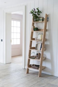 original Raw Oak Shelf Ladder, with 6 graded shelves, offers a striking and fresh shelving alternative.Our original Raw Oak Shelf Ladder, with 6 graded shelves, offers a striking and fresh shelving alternative. Leaning Ladder Shelf, Oak Shelves, Small Shelves, Ladder Decor, Ladder Bookcase, Ladder Storage, Bathroom Ladder Shelf, Step Shelves, Home Decor Ideas