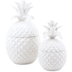 PINEAPPLE JARS (TWO SIZES) ($60) ❤ liked on Polyvore featuring home, kitchen & dining, food storage containers, lidded jar, ceramic lidded jars, ceramic jar, ceramic food storage containers and food safe storage containers