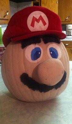 Mario pumpkin for Halloween contest. Potato for nose.