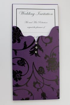 Purple Wedding Invitations | Cadburys Purple Floral Wallet Wedding Invitation