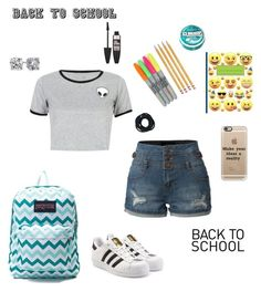 """""""Back to school tips collab w/ @katiethebest25"""" by ahriraine ❤ liked on Polyvore featuring JanSport, adidas Originals, LE3NO, WithChic, Paper Mate, Blue Nile, Casetify and Maybelline"""