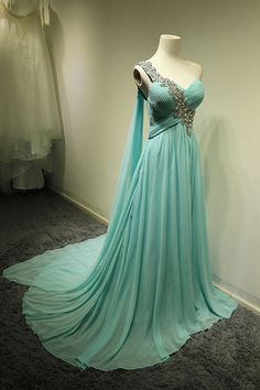 Long Turquoise Bridesmaid Dress, One Shoulder Sweep Train Chiffon Prom Dress(item no. C-1001) on Etsy, $129.00
