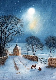 Hares in the moonlight The Shortcut by janayart on Etsy Winter Pictures, Christmas Pictures, Christmas Art, Christmas Morning, Winter Magic, Winter Art, Winter Snow, Graffiti Kunst, Rabbit Art