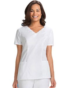 449e9d3a3f2 Buy Cherokee Women Two Pocket V-Neck Embroidered Nurses Scrub Top for $0.00  White Scrub