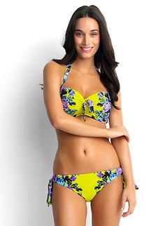 Stunning D-Cup bra with molded cups, convertible straps, and center bow detail. Featured in a chartreuse color with a vibrant floral print.  Matching hipster bikini bottom with adjustable loop side ties by Seafolly Swimwear, $182.00