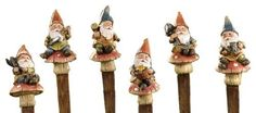 Gift Craft 8.2-Inch Poly Resin Gnome-on-a-Mushroom Design Garden Stakes, Small by Gift Craft. $54.01. Durable polyresin construction. Well suited for planters and plant beds alike. Outdoor safe. Enchanting and charming, the set of six gnome garden stakes showcases six unique gnome designs each holding different garden inspired icons: garden sheers, chainsaw, hammer, planter, shovel and watering can. crafted in polyresin with rustic woodland finishes. measures approximately ...