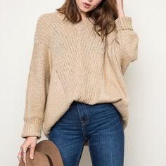 """""""Anaphora"""" Loose Long Sleeve Sweater Top Loose oversized long sleeve sweater top. Goes amazing with denim. Super soft and comfy. Available in grey and taupe. This listing is for the TAUPE. Brand new. True to size. ABSOLUTELY NO TRADES. Bare Anthology Sweaters V-Necks"""
